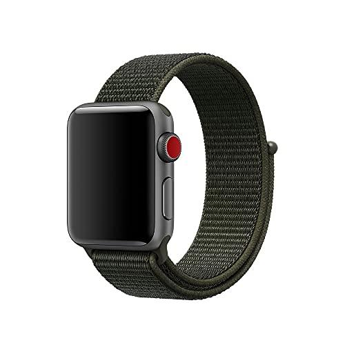 Correa de nailon compatible con Apple Watch Band de 38 mm, 42 mm, 40 mm, 44 mm, delgada, suave, estrecha, correa de repuesto para iWatch Series SE/6/5/4/3/2/1 mujeres y hombres (Khaki, 38 mm/40 mm)