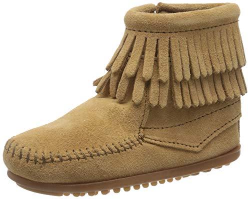 Minnetonka Minnetonka Double Fringe Side Zip Mädchen Kurzschaft Mokassin Boots, Beige (Taupe / TPE), 34 EU