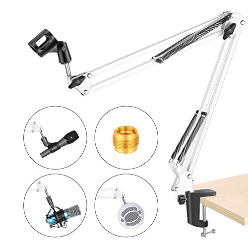 NEEWER Adjustable Microphone Suspension Boom Scissor Arm Stand, Max Load 1 KG Compact Mic Stand Made of Durable Steel for Stages, TV Stations(White)