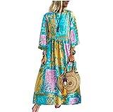Yassiglia Vestido Boho Patchwork de manga larga para mujer, de algodón y lino, suelto, informal, largo vestido de mujer elegante, amarillo, M