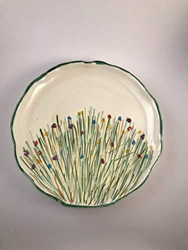 Plato ceramico 100% handmade con motivos florales realizado de manera artesanal, A.Ruiz-Cerámica