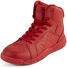 Zumba Street Boss Comfy High Top Gym Shoes Active Dance Workout Shoes for Women, Red, 5.5