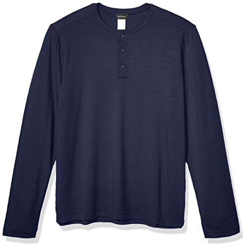 Hanro Herren Harrison Long Sleeve Shirt 75642 Pyjama-Oberteil (Top), Night, Klein