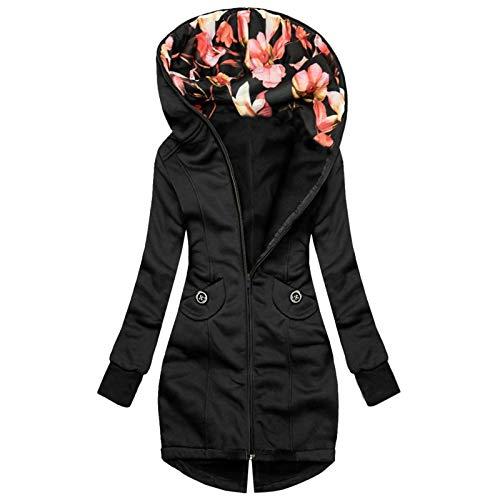 Sunggoko Sudadera con capucha resistente al viento para mujer, chaqueta con estampado, manga larga, sudadera con capucha, abrigo con cremallera, chaqueta larga forrada, 24 unidades