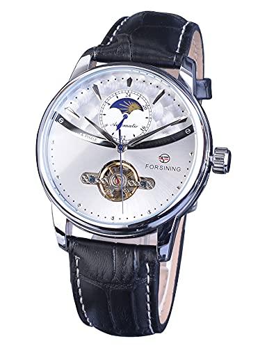 Forsining Reloj mecánico automático impermeable simple para hombre con tourbillon de lujo y fase lunar elegante negro genuino cinturón azul manos reloj de pulsera