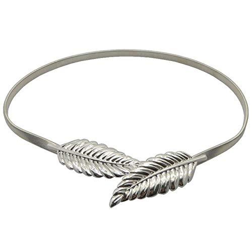 ZXMDP Flower Leaf Shape Gürtel für Frauen Hochzeitsdesigner Elastic Girl Stretch Skinny Taille Gürtel Cummerbunds Metal Female Belt, Style1 Silber