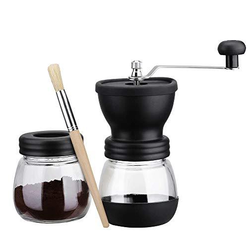 ZSLLO Handmatige koffiemolen met opslagpot Zachte borstel Conische keramische braam Rustig en Draagbare koffiebonen molen