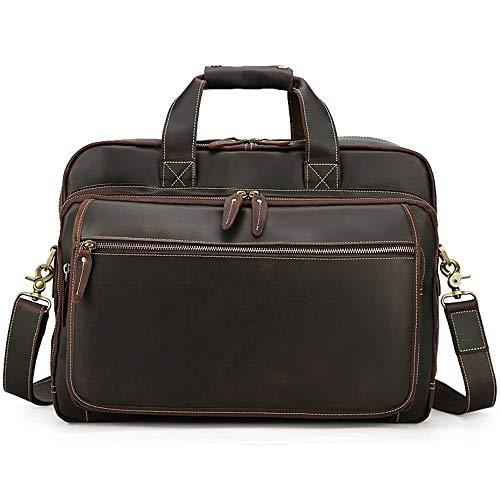No brand Portatile Grande capacità Cartella da 17 Pollici for Notebook Borse Cartella di Cuoio di Marea Laptop Bag Cartella Impermeabile (Color : Dark Brown, Size : 42x31x14cm)