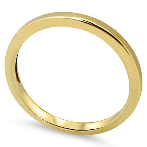 Goldring 585 Gold Massiv Gelbgold 14 Karat Damen Bandring - Ring - Vorsteckring ohne Stein Gr 48 bis 62 2,2 mm (62 (19.7))