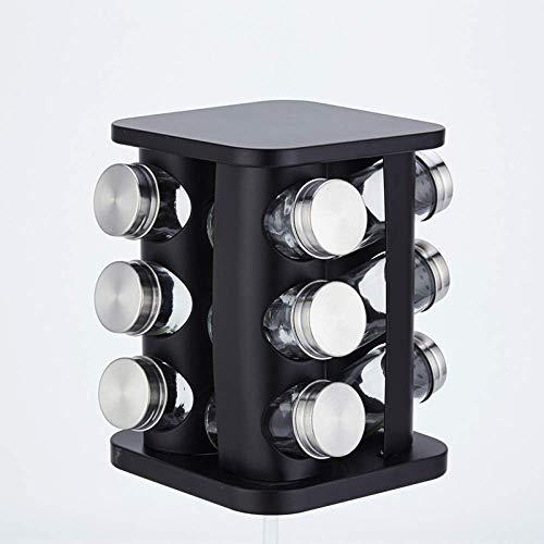 LGYKUMEG Especiero Organizador Giratorio de Acero Inoxidable de la Especia del carrusel por 12 Botellas de Cristal Tarros con Tapa,Negro
