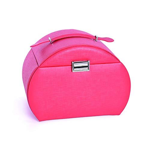 Caja de almacenamiento de joyas de piel sintética color sólido maleta-cruz patrón para niñas (tamaño: 25x18x19cm)-rojo