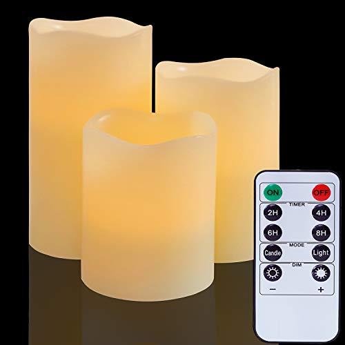 Flameless Battery Operated LED Candles:Real Wax Pillar with Remote Control Flickering Electric Fake Lights for Decoration Christmas Wedding Birthday Party Outdoor Votive Diwali Garden(Set of 3,Ivory)