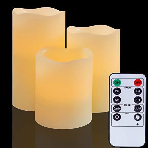 Velas LED con pilas y sin llama: Luces reales de pilar de cera con control remoto Parpadeo eléctrico falso para decoración de: bodas, Navidad, Fiesta de cumpleaños, Jardín al aire libre (Set de 3)