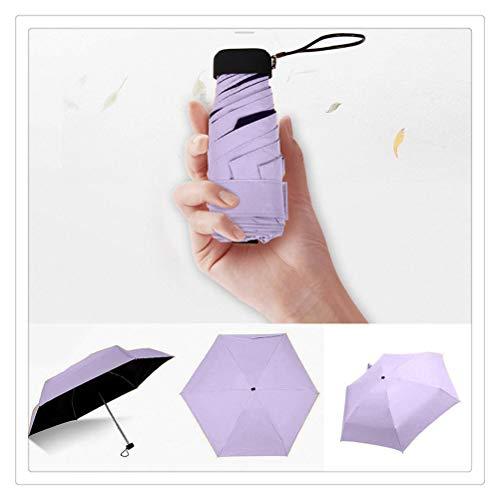 DFSDG Luxus Leichte Regenschirm Schwarz Beschichtung Sonnenschirm 5 Falten Sonnenregen Regenschirm Unisex Reise Protable Tasche Mini Regenschirm (Color : Purple)