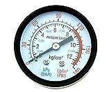 """Manometro per pressione pneumatici, filettatura maschio, analogico, rotondo, per compressori d'aria da 1/4"""", 0-180 psi / 0-12 bar"""