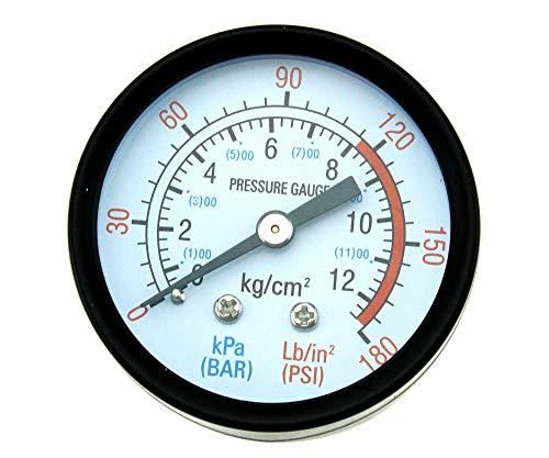 Medidor de presión de aire de rosca BSP de 1/4 pulgadas, tipo de esfera macho roscado redondo, compresor de aire calibre 0-180 psi 0-12 bar