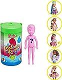 Barbie Color Reveal mini-poupée Chelsea avec 6 éléments mystère, thème nourriture, 4 sachets surprise, modèle aléatoire, jouet pour enfant, GPD41