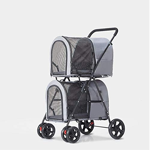 PULLEY Cochecito de mascotas doble plegable ligero para perros Big Space Cart desmontable Pet Travel Carrier, portador de gato conejito