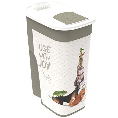 Rotho Flo Tierfutterbox 4,1l mit Deckel, Kunststoff (PP) BPA-frei, anthrazit/weiss, 4,1l (19,5 x 13,6 x 27,0 cm)