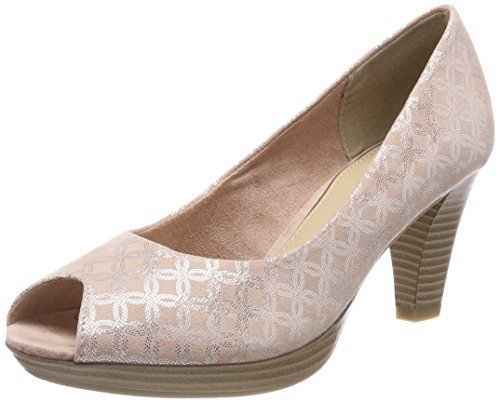 MARCO TOZZI Damen 29302 Peeptoe Pumps, Pink (Rose Metallic), 40 EU