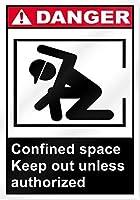 許可されていない限り、危険な閉所は立ち入り禁止です。金属スズサイン通知街路交通危険警告耐久性、防水性、防錆性