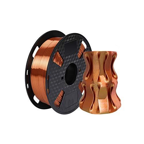 KEHUASHINA Filamento PLA 1,75 mm di diametro per stampante 3D - Rame di seta lucida metallizzata lucente - 1 kg (2,2LB) Raso di seta Pla - Accessori per stampanti 3D