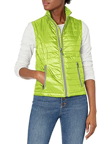 Charles River Apparel Women's Radius Quilted Vest, Lime/Grey, M