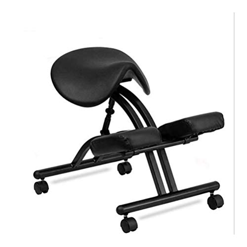 Happy shopping Kneeling Chairs, Horseback Riding Chair Anti-Humpback Computer Chair Positive Posture Chair Ergonomic Chair Kneeling Chair Saddle Stool Study Writing Chair Lift (Color : Black)