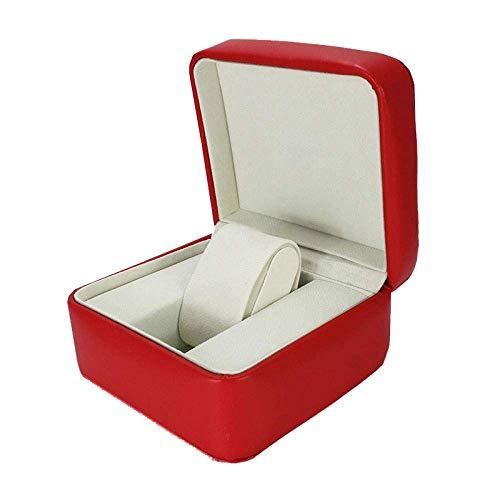 Panduo YLB Reloj Caja Hombres Joyería Cajas Mujeres Regalo de Lujo Faux Cuero Red Joyas Caja de Almacenamiento 14.5 * 12.5 * 7.5cm