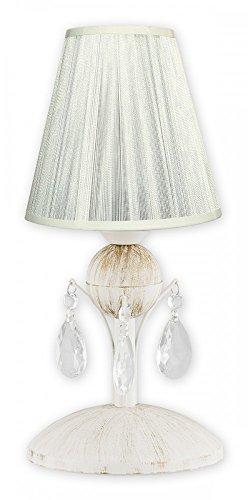 Lámpara de mesa con pantalla de tela en color blanco, lámpara cromada con cristal en estilo shabby chic, lámpara para mesita de noche, lámpara de mesa de la serie Agnis