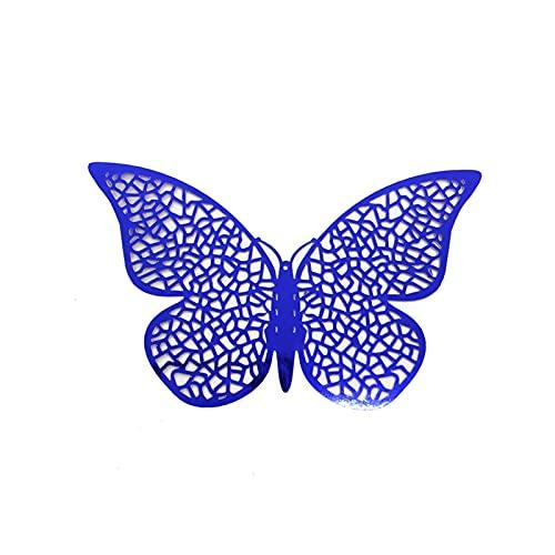 QASUF Índigo 3D Hueco Mariposa Etiqueta de la Pared decoración Sala de Estar Ventana decoración casera Boda Mariposas calcomanías Etiquetas engomadas (Color : Royal Blue B)