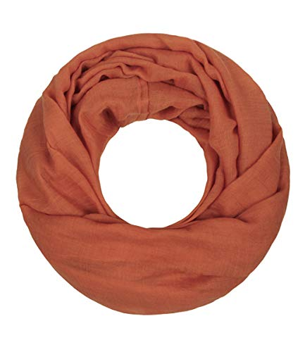 Majea Loop Cary Basic Schal Tuch Damen-schal Schlauchschal Rundschal Halstücher uni unifarben Loopschal einfarbig (orange)