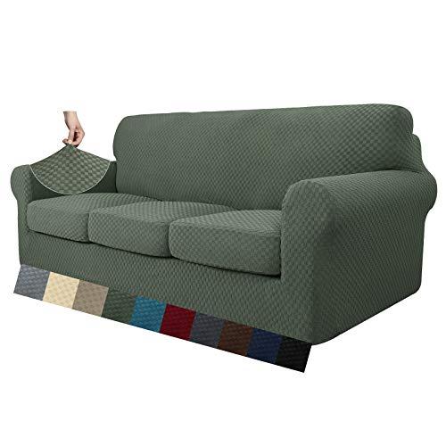 MAXIJIN 4 piezas más nuevas fundas de sofá jacquard para 3 plazas super elásticas antideslizantes para perros mascotas Protector de muebles de sofá fundas elásticas (3 plazas, verde ejército)