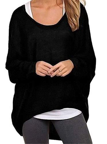 Meyison Damen Lose Asymmetrisch Sweatshirt Pullover Bluse Oberteile Oversized Tops T-Shirt, M, Schwarz B
