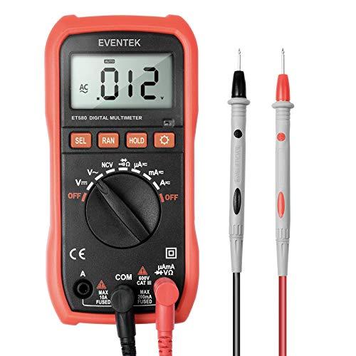 Eventek ET580 Multimetro Digitale, Multimetro Tester Auto Range Test per DC AC Corrente DC AC Voltaggio Resistenza Frequenza con LCD Retroilluminazione