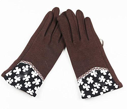 SUNHAO Damenhandschuhe Plus Samt Touchscreen Herbst und Winter Nicht Daunen Samt Warme Knöpfe Textur Design Mode Handschuhe