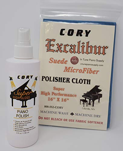 Cory/MPS Super High Gloss Piano Polish Bundle - 8oz Bottle w/Excalibur Microfiber Polishing Cloth