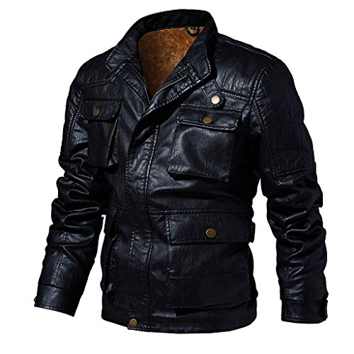 Save %16 Now! Letdown_Men Hoodies Men Winter Leather Jackets Solid Color Motorcycle Personality Slim...