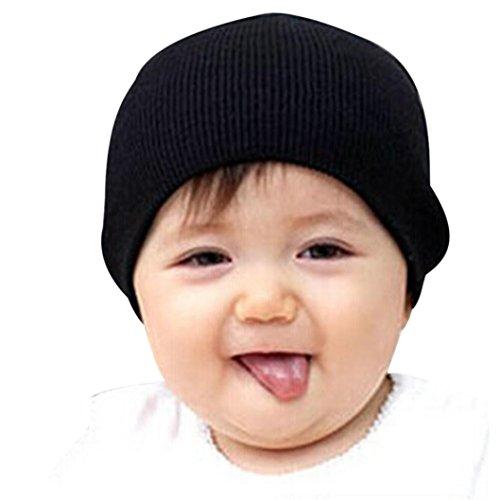 Amlaiworld Baby Mütze Jungen Mädchen weichen Hut Kinder Winter warme gestrickte Mütze (Schwarz)