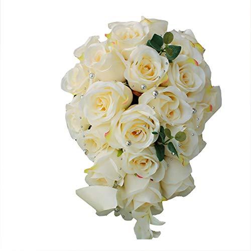 Dosige Brautstrauß Seidenblumenstrauß Hochzeitsstrauß Hochzeitsdekoration Wasserfall Stieg Kunstblume Blumenstrauß