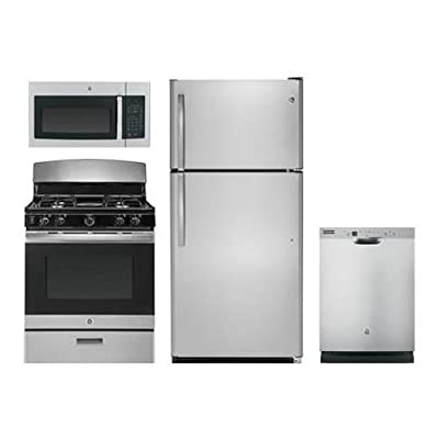 """GE 4 Pcs Kitchen Package with GTS21FSKSS 32"""" fridge, JGBS30REKSS 30""""Freestanding Gas Range, JVM3160RFSS 30"""" Over the Rage Microwave Oven and GDF610PSJSS 24""""Built In Full Console D/W in Stainless Steel"""