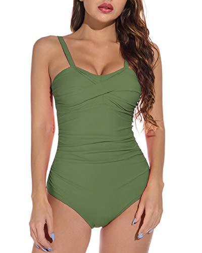 Yuson Girl - Bañador sexy para mujer, 1 pieza, cuello en V, talla grande, para adelgazar verde L