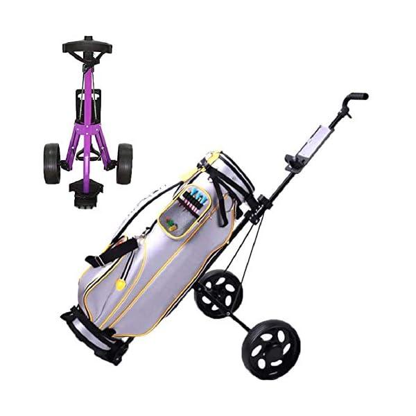 Chariot-de-Golf-2-Roues-Pliable-avec-Porte-Tee-en-Aluminium-Frein-au-Pied-et-Poigne-Rembourre-Ajustable-Facile–Transporter-Votre-Facile–Ouvrir-Voiturettes-Golf-Manuel