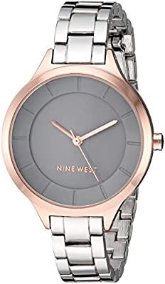 Nine West Women's NW/2225GYRT Rose Gold-Tone and Silver-Tone Bracelet Watch