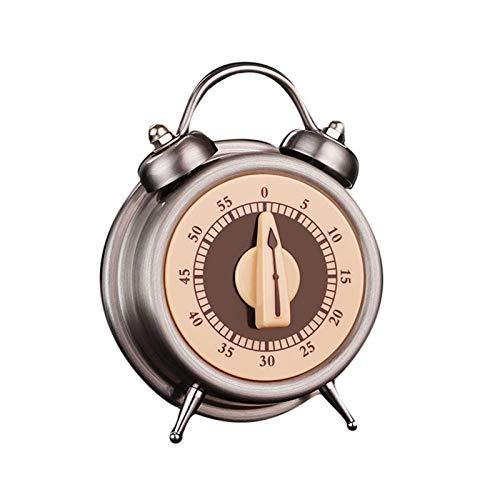 mementoy Temporizador de cocina mecánico 60 minutos de viento para arriba temporizador nostalgia acero inoxidable cocina reloj despertador