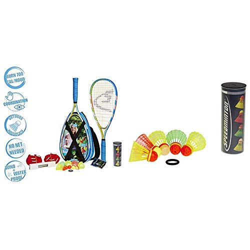 Speedminton® S700 Set – Original Speed Badminton/Crossminton Allround Set inkl. 5 Speeder®, Tasche & Mix Speeder - 5er Pack Speed Badminton/Crossminton Bälle gemischt inkl. Windring