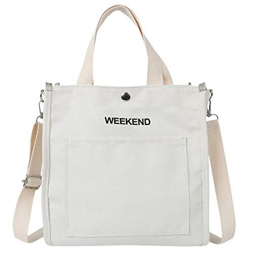 Goddessvan 2019 Women Letter Canvas Bag Canvas Shoulder Bag Female Crossbody Bag Student Laptop Bag White
