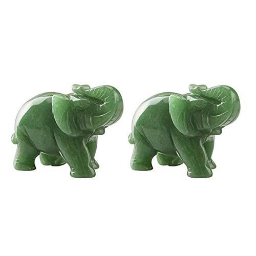 styleinside 2 piezas de mármol tallado a mano de piedra de jade de aventurina antojo estatua de elefante afortunado