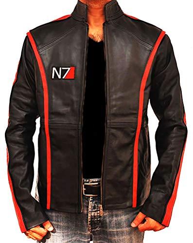 TLCFashion Mass Effect Merchandise N7 Lederjacke für Herren - Schwarz - XX-Large