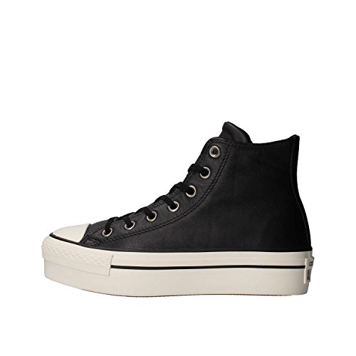 Converse Ctas Hi Platform Leather, Sneaker a Collo Alto Donna, Nero (Black/Black/Egret), 37.5 EU
